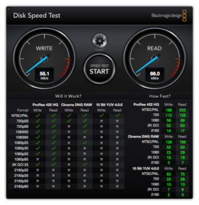 "2011 15"" MBP Disk Speed Test (55MB/s write, 66MB/s read)"