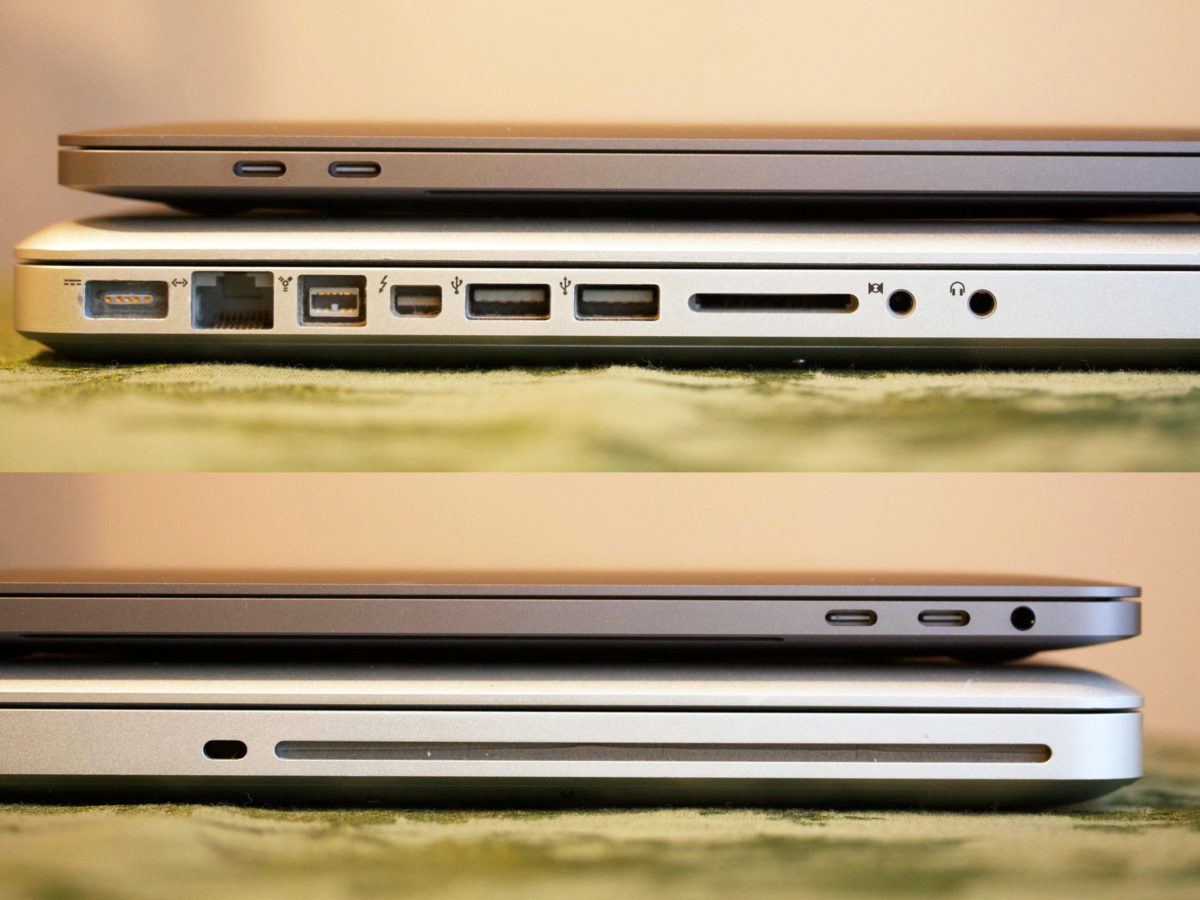 Side view of MacBook ports