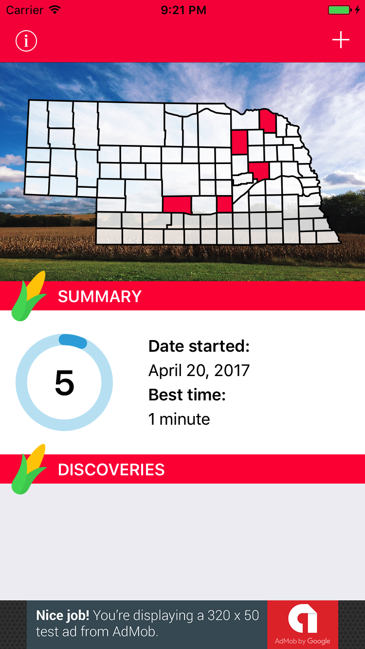 Nebraska app screenshot of April progress