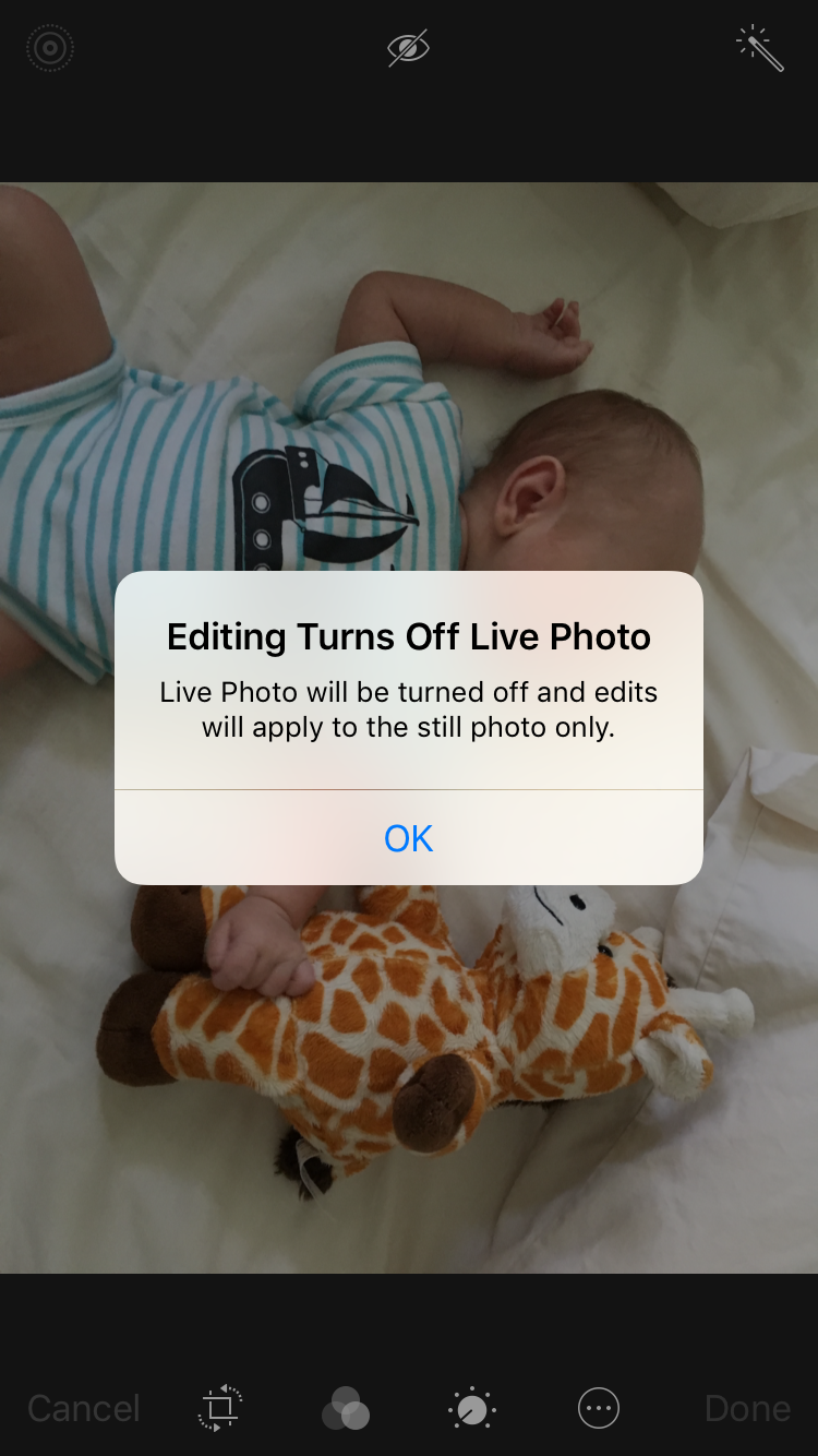 Editing will turn off Live Photo