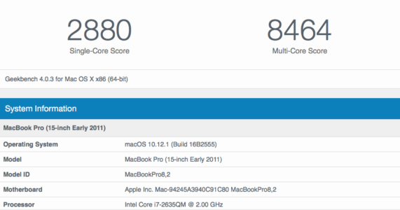 "2011 15"" MBP Geekbench (2880 single, 8464 multi)"