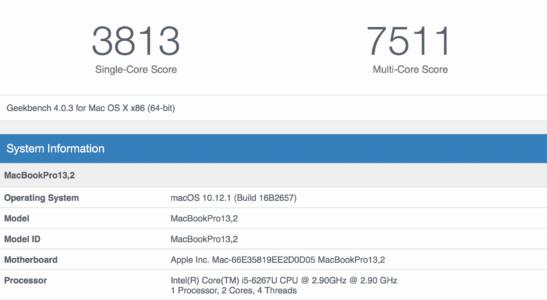 "13"" MacBook Pro Geekbench (3813 single, 7511 multi)"